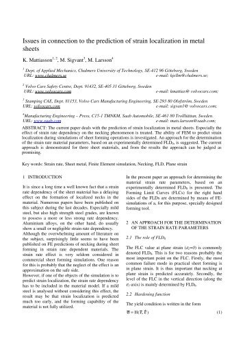 Issues in connection to the prediction of strain localization in metal ...