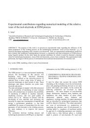 Experimental contributions regarding numerical modeling of the ...
