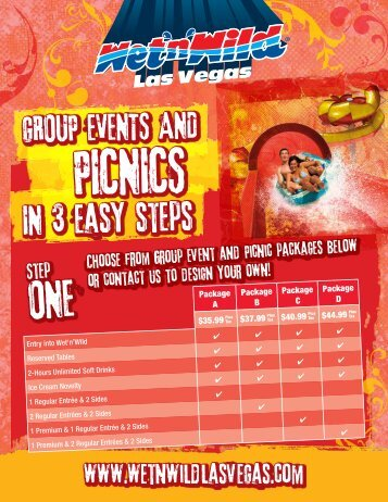 3-Step Party Guide and Menu Options - Wet 'n Wild