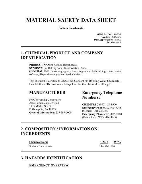 Sodium Bicarbonate - H2Oco com
