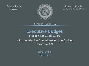 FY16 Executive Budget Presentation to JLCB, 02-27-15