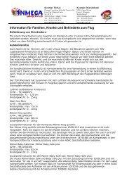 Information für Familien, Kranke und Behinderte zum Flug
