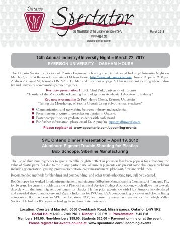 March 2012 Newsletter - Society of Plastic Engineers of Ontario