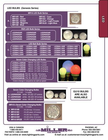 GU10 BULBS ARE ALSO AVAILABLE - Miller Lighting Products