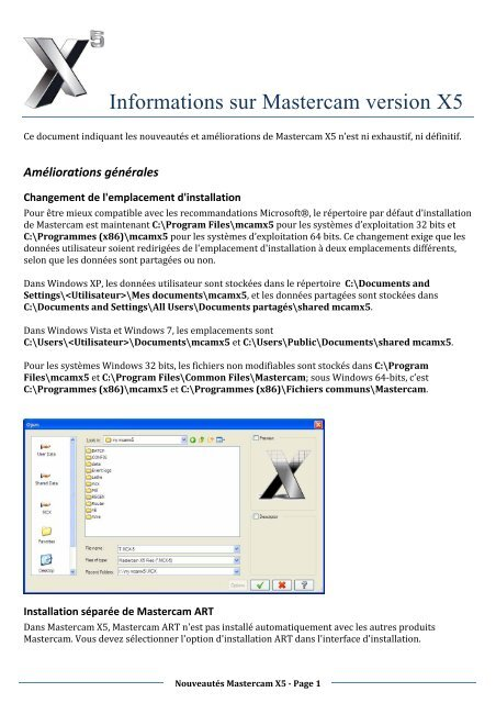 Informations sur Mastercam version X5 - Mastercam-France