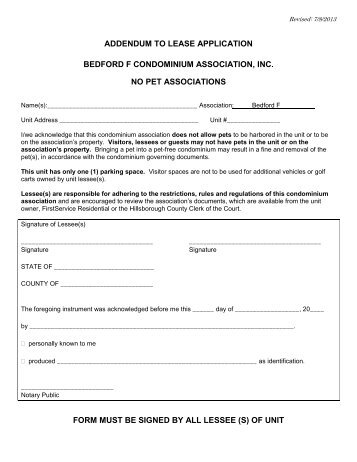 Addendum To Lease Application  Kings Point