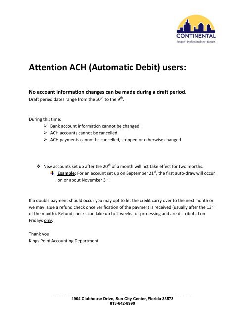 Attention ACH (Automatic Debit) users: - Kings Point