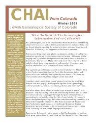 2007 Winter - the Jewish Genealogical Society of Colorado