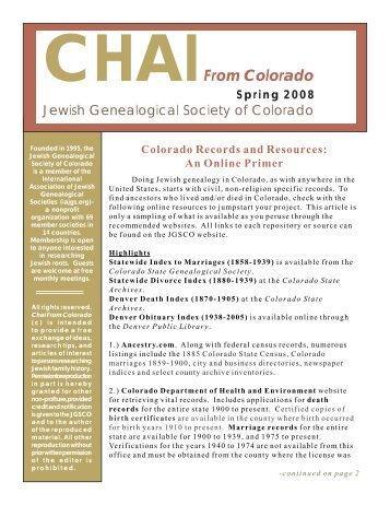 2007 Fall - the Jewish Genealogical Society of Colorado