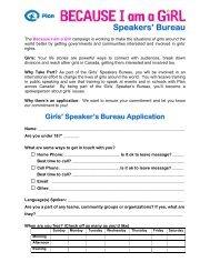 Speakers' Bureau - Plan Canada