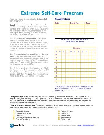 Self-Care Assessment Worksheet - Www4