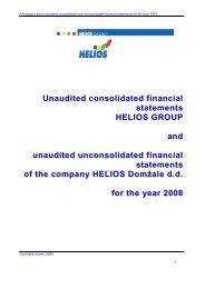 Nerevidirani konsolidirani računovodski izkazi ... - Helios Group