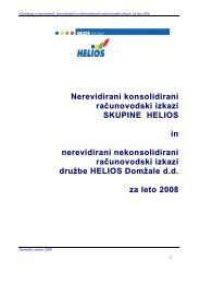 Nerevidirani konsolidirani in nekosolidirani izkazi ... - Helios Group