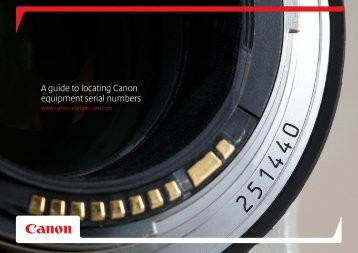A guide to locating Canon equipment serial numbers
