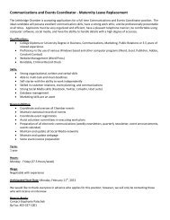 Communications and Events Coordinator - Maternity Leave ...