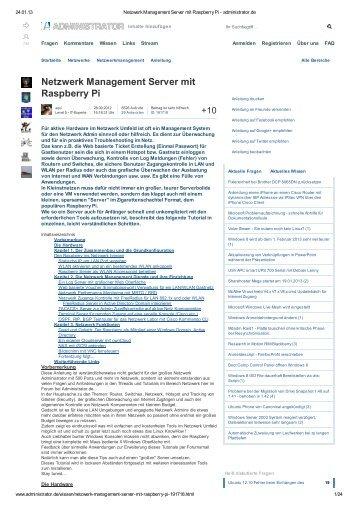 Netzwerk Management Server mit Raspberry Pi