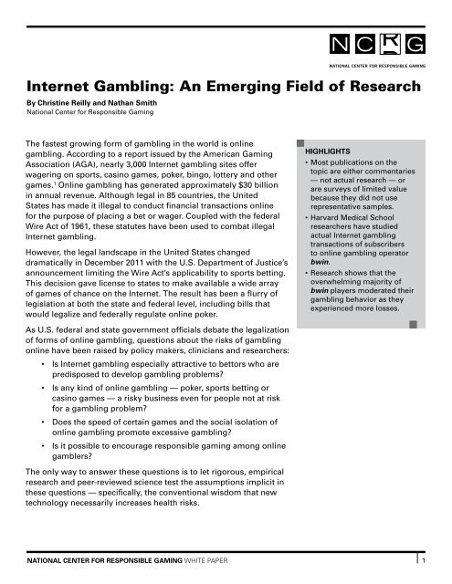 Thesis for reasearch paper on gambling