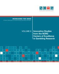 Innovative Studies from the NCRG Centers of Excellence in ...