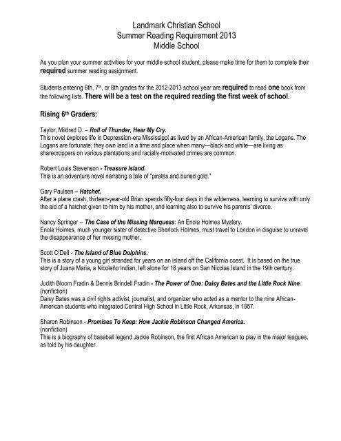 Middle School Summer Reading List - Landmark Christian School