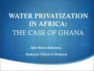 WATER PRIVATIZATION: THE CASE OF GHANA - Haskayne ...