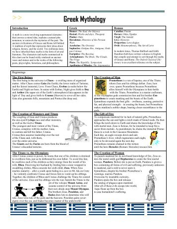 Greek Mythology Handout - Landmark Christian School