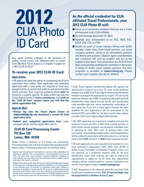 2012 photo ID Card Application - Cruise Lines International ...