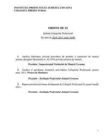 ORDINE DE ZI - Prefectura Judeţului Covasna