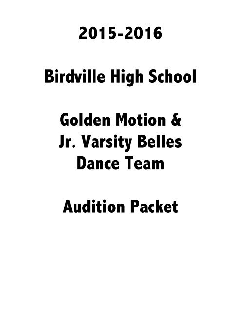 2015 2016 Audition Packet