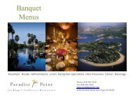 Banquet Menus - Paradise Point Resort & Spa