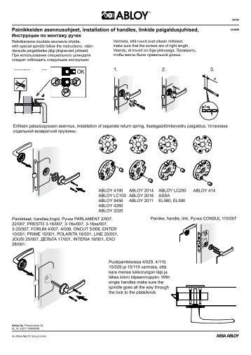 Painikkeiden asennusohje - Abloy Oy