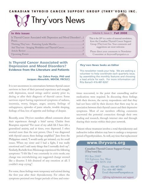Newsletter 20 Fall 2008 Thyroid Cancer Canada