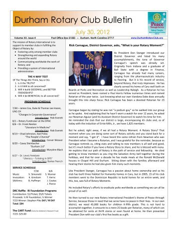 7/30/2012 Bulletin - The Rotary Club of Durham