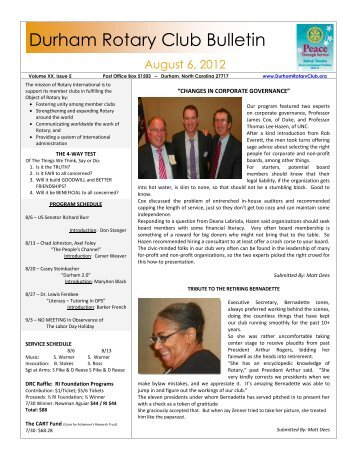 August 6 Bulletin - The Rotary Club of Durham