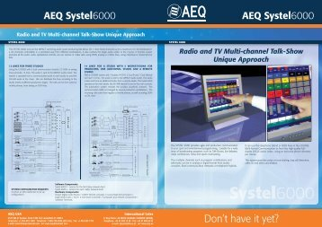 AEQ Broadcast SYSTEL 6000 Software datasheet Downloadable ...
