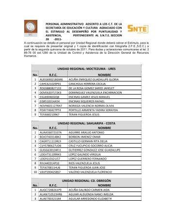 UNIDAD REGIONAL - Secretaría de Educación y Cultura