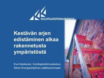 Eva Heiskanen, Kuluttajantutkimuslaitos - Sitra