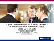 Yritysten rahoitusmahdollisuuksia lainoin, takauksin ja ... - Sitra