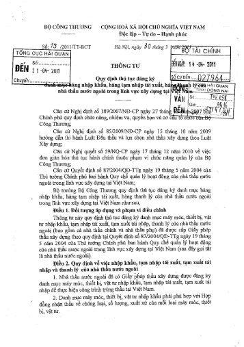 TT 15/2011/TT-BCT - Cục Hải quan Đồng Nai
