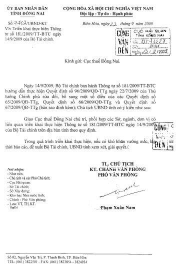 CV 7702/UNND-KT - Cục Hải quan Đồng Nai