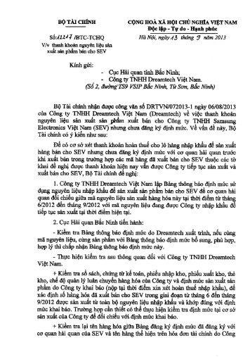 12217/BTC-TCHQ - Cục Hải quan Đồng Nai
