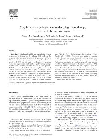 Cognitive change in patients undergoing hypnotherapy for irritable ...