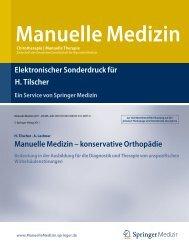 Manuelle Medizin - konservative Orthopädie - Prof. Dr. Tilscher
