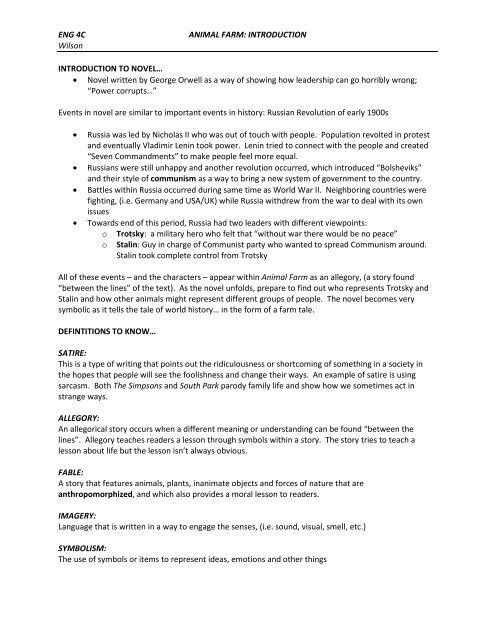 Eng 4c Animal Farm Introduction Wilson Introduction
