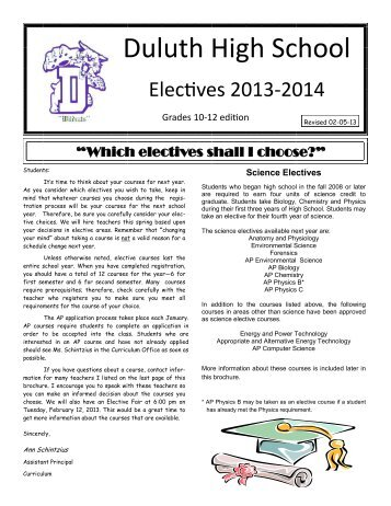 Elective Course Offerings for 2013 - Duluth High School