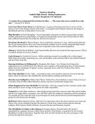 Summer Reading Duluth High School - Rising Sophomores Honors ...