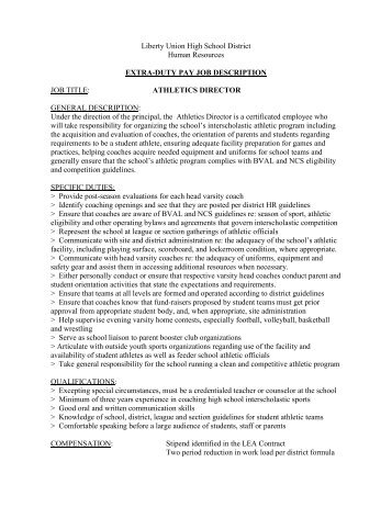 Job Description Ms Athletic Director  School District Of Omro