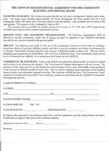 The Town Of Mounds Rental Agreement For The Community Building .
