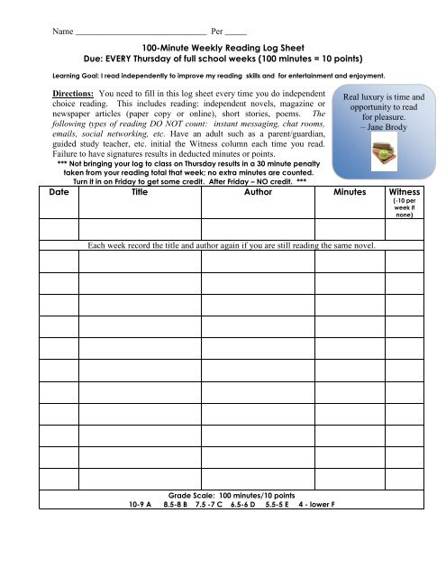 image relating to Weekly Reading Log Printable referred to as Weekly Reading through Log Sheet