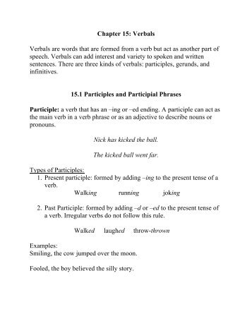 Chapter 15 Participle Phrases Writers Choices