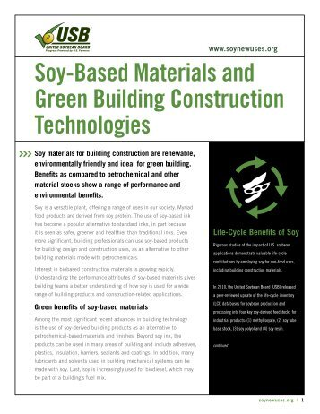 Soy-Based Materials and Green Building ... - Soy New Uses
